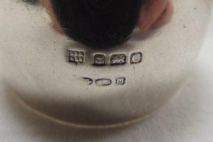 Silver barrel shaped napkin ring hallmark
