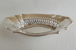 Wide shot of silver bonbon dish