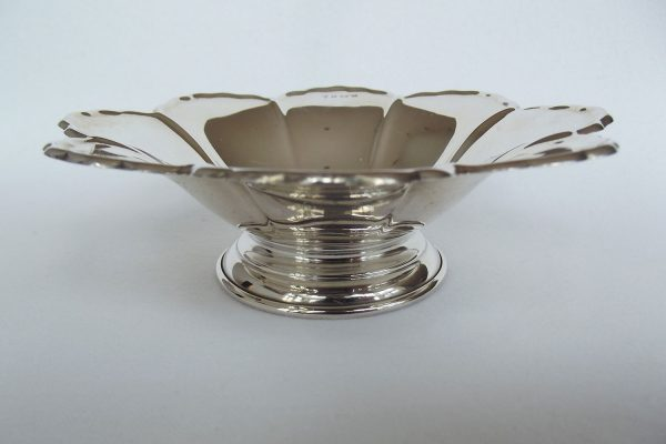 Silver petal dish from side