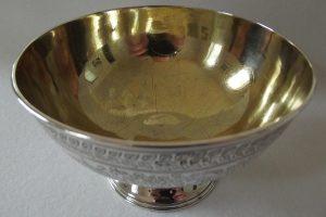 Shot of gilding inside Victorian silver bowl