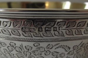 Closeup of hallmarks on Victorian silver bowl
