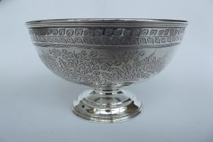 Side shot of Victorian silver bowl