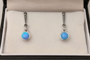 Dainty Blue Opal Drop Earrings