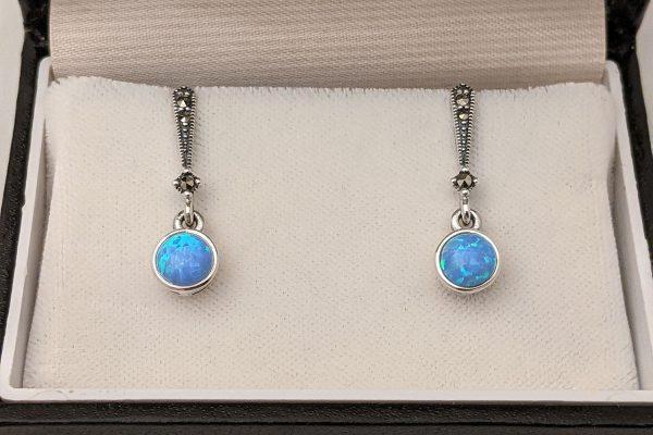 Dainty Blue Opal Drop Earrings
