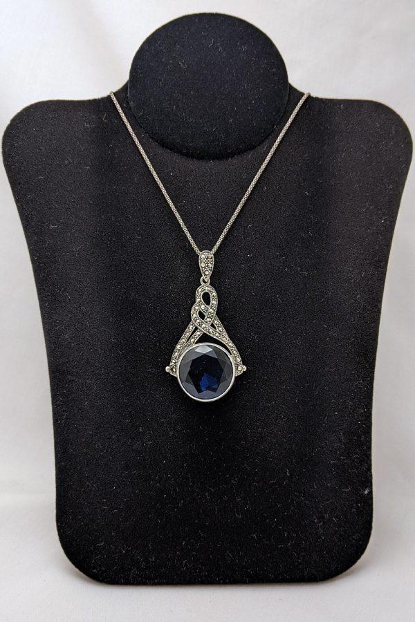 marcasite silver sapphire pendant