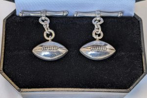 Silver rugby ball cufflinks